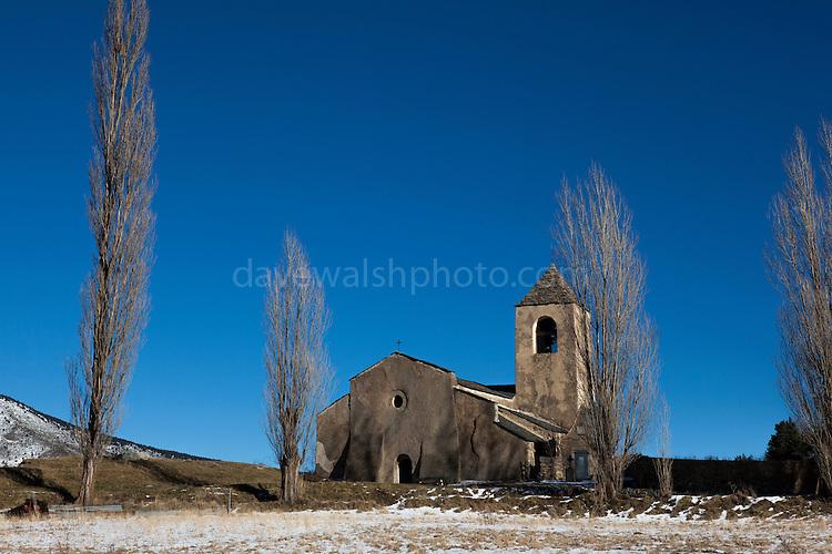 Église de la Trinité et Sainte-Marie, Prats Balaguer, in the Pyrenees Orientales, France. The church dates to the 11th century.
