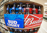A display of Budweiser and Bud Light beer by the brewer Anheuser-Busch in a supermarket in New York on Thursday, June 30, 2016. (© Richard B. Levine)