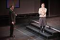 Edinburgh UK. 09.08.2013. Wooster Group presents HAMLET by William Shakespeare as part of the the Edinburgh International Festival.  Cast is: Scott Shepherd (Hamlet), Ari Fliakos (Claudius/Marcellus/Ghost/Gravedigger), Kate Valk (Gertrude/Ophelia), Greg Mehrten (Polonius/Priest), Casey Spooner (Laertes/Rosenkrantz/Guildenstern/Player King), Daniel Pettrow (Hotatio/Rosencratz/Guildenstern/Player Queen), Koosil-ja (Nurse), Alessandro Magania (Bernardo/Volteman). Directed by Elizabeth Le Compte, with lighting design by Jennifer Tipton and set design by Ruud van den Akker. Photograph © Jane Hobson.