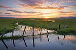 Idaho, South Central, Camas County, Fairfield. A spring sunset over the Centennial Marsh.