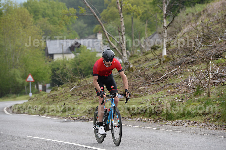 Competitors climb the challenging iconic and notorious 6km 10% stretch of road namely The Tumble during the Wales Velothon 2016 140km route cycling race. Way out in front of the Sportive competitors is the eventual winner of the race Jamie Wilkins in a time of 3:42:27 <br /> <br /> <br /> Jeff Thomas Photography -  www.jaypics.photoshelter.com - <br /> e-mail swansea1001@hotmail.co.uk -<br /> Mob: 07837 386244 -