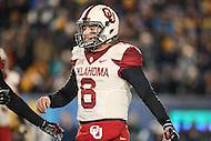 Morgantown, WV - November 19, 2016: Oklahoma Sooners quarterback Baker Mayfield (6) celebrates during game between Oklahoma and WVU at  Mountaineer Field at Milan Puskar Stadium in Morgantown, WV.  (Photo by Elliott Brown/Media Images International)