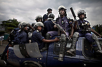 Riot police on the streets of Goma after student protests over fees, one student died during the unrest Goma University, DRC.