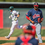 5 September 2016: Lowell Spinners pitcher Dioscar Romero returns to the mound after giving up a solo home run to Vermont Lake Monsters catcher Sean Murphy in the 6th inning at Centennial Field in Burlington, Vermont. The Monsters defeated the Spinners 9-5 to close out their 2016 NY Penn League season. Mandatory Credit: Ed Wolfstein Photo *** RAW (NEF) Image File Available ***