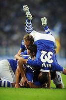 FUSSBALL   EUROPA LEAGUE   SAISON 2011/2012   Play-offs FC Schalke 04 - HJK Helsinki                                25.08.2011 Joel MATIP (Schalke) steht beim Jubel nach dem Tor zum 5:1 Kopf