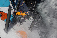 "FRANCE, Lorient. 1st July 2012. Volvo Ocean Race, Start Leg 9 Lorient-Galway. Zane Gills and Antonio ""Neti"" Cuervas-Mons on the bow of Team Telefonica."