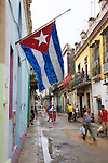 Street Scene With Cuban Flag, Old Havana