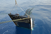Collection net being pulled from the ocean onto a research ship with its catch of marine organisms.