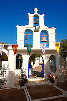 Bell tower entrance of the Greek Orthodox monastery of Kalamos, Ios, Cyclades Islands, Greece
