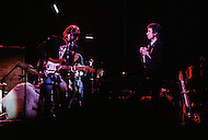 Chicago Stadium, Chicago IL - January 3, 1974. This photograph was taken of Bob Dylan and The Band playing at their first show of their 1974 tour in Chicago Stadium, after an 8-year absence. Bob Dylan (born May 24, 1941) is an American musician, singer-songwriter, artist and writer, who has also been an influential figure in pop music and culture for over 5 decades.