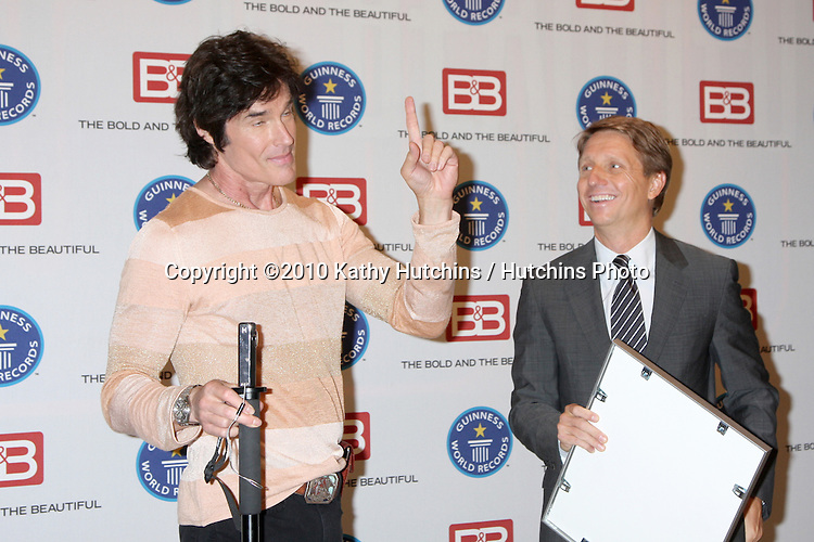 "Ronn Moss & Brad Bell.Guinness World Records®  presents THE BOLD AND THE BEAUTIFUL with the certification as the  ""Most Popular Daytime TV Soap - Current..Bold & Beautiful Set, Stage 31, CBS Televsion CIty.Los Angeles, CA.May 18, 2010.©2010 Kathy Hutchins / Hutchins Photo.."