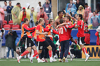 Austria players celebrate their win moments after the final whistle. Austria (AUT) defeated the United States (USA) 2-1 in overtime of a FIFA U-20 World Cup quarter-final match at the National Soccer Stadium at Exhibition Place, Toronto, Ontario, Canada, on July 14, 2007.