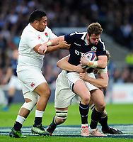 Allan Dell of Scotland is tackled. RBS Six Nations match between England and Scotland on March 11, 2017 at Twickenham Stadium in London, England. Photo by: Patrick Khachfe / Onside Images