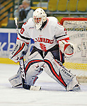 2 January 2009: St. Lawrence Saints' goaltender Alex Petizian, a Junior from Kirkland, Quebec, warms up prior to a game against the Ferris State Bulldogs in the first game of the 2009 Catamount Cup Ice Hockey Tournament hosted by the University of Vermont at Gutterson Fieldhouse in Burlington, Vermont. The Saints defeated the Bulldogs 5-4 to move onto the championship game against the University of Vermont Catamounts...Mandatory Photo Credit: Ed Wolfstein Photo