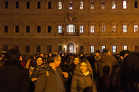 A crowd gathered in Piazza Farnese in front of the French Embassy for a candlelight vigil in  solidarity with the victims of the attack against the headquarters of the satirical magazine Charlie Hebdo, which resulted in the killing of 12 in Paris. The event  has been promoted by the National Federation of the Italian Press (FNSI) and Articolo21. Rome, Italy. Jan 8, 2015