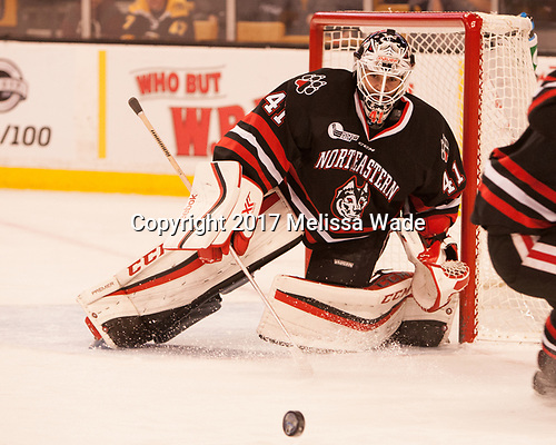 Ryan Ruck (NU - 41) - The Harvard University Crimson defeated the Northeastern University Huskies 4-3 in the opening game of the 2017 Beanpot on Monday, February 6, 2017, at TD Garden in Boston, Massachusetts.