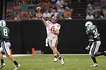 Ole Miss quarterback Jeremiah Masoli (8) throws an interception at the Louisiana Superdome in New Orleans, La. on Saturday, September 11, 2010. The play was called back because of penalty. Ole Miss won 27-13.