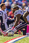 12 October 2014: New England Patriots running back Stevan Ridley stretches out prior to a game against the Buffalo Bills at Ralph Wilson Stadium in Orchard Park, NY. The Patriots defeated the Bills 37-22 to move into first place in the AFC Eastern Division. Mandatory Credit: Ed Wolfstein Photo *** RAW (NEF) Image File Available ***