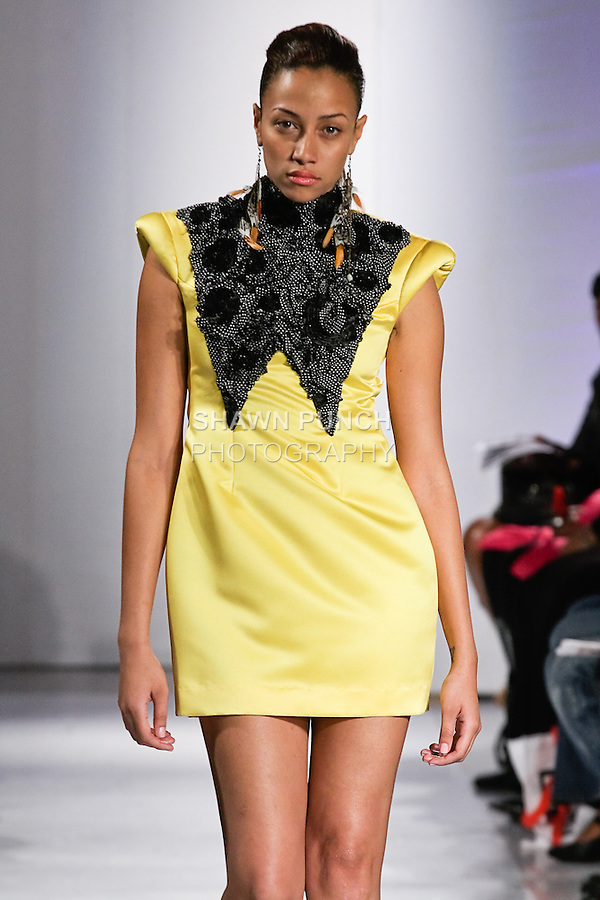 Model walks the runway in an outfit by Candice A. Williams from the Abeyo &amp; Marqz Boutique Spring Summer collection, during BK Fashion Weekend Spring Summer 2012.