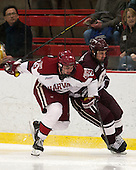 Tommy O'Regan (Harvard - 13), Kurtis Bartliff (Colgate - 16) - The Harvard University Crimson defeated the Colgate University Raiders 4-1 (EN) on Friday, February 15, 2013, at the Bright Hockey Center in Cambridge, Massachusetts.