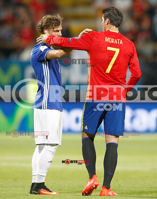 Spain's Alvaro Morata (r) and Liechtenstein's Marcel Buchel after FIFA World Cup 2018 Qualifying Round match. September 5,2016.(ALTERPHOTOS/Acero) /NORTEPHOTO