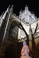 Bath Abbey by night, Bath, UK, October 19, 2007. The city of Bath is famed for it's hot springs (the only in the UK) and it's Georgian architecture. The city is a UNESCO World Heritage Site.