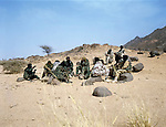 MNJ President Aghaly ag Alambo (left) brings together his military staff out of the camp to discuss supply issues and  Nigerien troops new moves.Tedek Area. Northern Niger. March 2008.