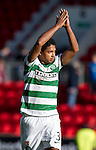 St Johnstone v Celtic..30.10.10  .Emilio Izaguirre applauds the fans.Picture by Graeme Hart..Copyright Perthshire Picture Agency.Tel: 01738 623350  Mobile: 07990 594431