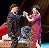 Thunderstorm <br /> by MO Fan <br /> based on the drama by Cao Yu <br /> Shanghai Opera House at The London Coliseum, London, Great Britain <br /> rehearsal <br /> 10th August 2016 <br /> <br /> Xu Xiaoying as Fanyi <br /> <br /> Han Peng as Zhou Ping <br /> <br /> <br /> <br /> <br /> <br /> <br /> <br /> Photograph by Elliott Franks <br /> Image licensed to Elliott Franks Photography Services