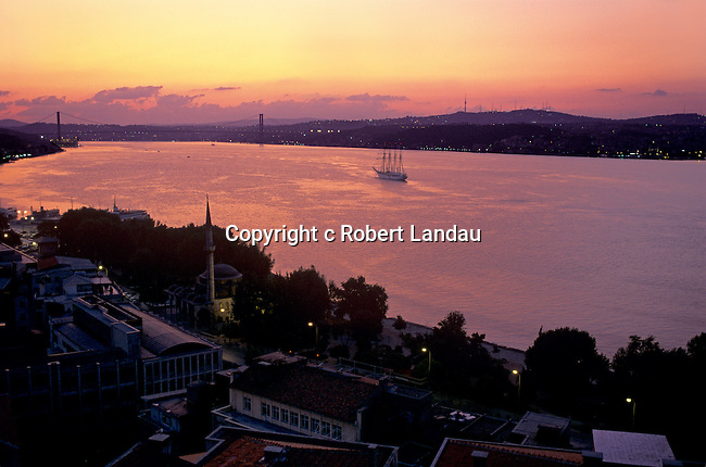 The  Bosphorus Sea divides Asia and Europe as it passes through the heart of Istanbul at dawn.