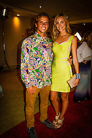 HONOLULU, Oahu, Turtle Bay Resort. Thursday 6th 2012. Julian Wilson (AUS) with girlfriend Ashley..Since moving the show to Oahu's North Shore three years ago, the 2012 SURFER Poll saw its largest turn out ever. From surfing's best to local legends, the packed house witnessed another historic night, as Kelly Slater (USA) and Stephanie Gilmore (AUS) won this year's Men's and Women's Polls. Gabriel Medina (BRA) won the Andy Irons Break Out Performer of the year award and finished #4 on the Surfer Poll while Dane Reynolds (USA) picked up two awards as well. Photo: joliphotos.com