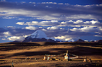 CHIU MONASTERY, its 3 CHORTENS and MOUNT KAILASH (6638M) are visited by devout BUDDHIST PILGRIMS - TIBET