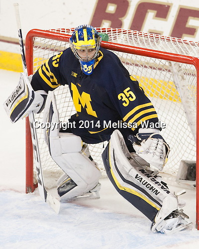 Zach Nagelvoort (Michigan - 35) - The Boston College Eagles defeated the visiting University of Michigan Wolverines 5-1 (EN) on Saturday, December 13, 2014, at Kelley Rink in Conte Forum in Chestnut Hill, Massachusetts.