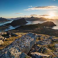 View from rocky summit of Holandsmelen mountain peak, Vestvagoy, Lofoten Islands, Norway