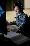 Mission commander, First Lieutenant Jamie Christopher works on the operations floor at Beale Air Force Base in Linda, Calif., April 30, 2010.