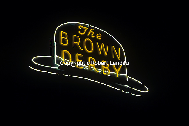 The Brown Derby neon sign at classic Hollywood restaurant