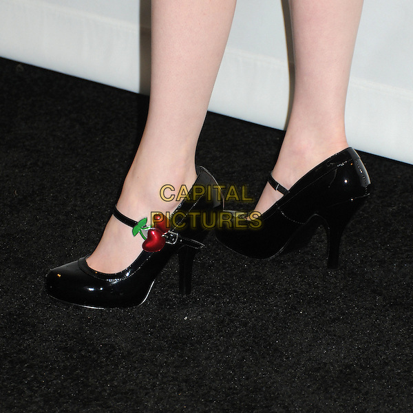 "Molly Quinn's shoes .PaleyFest 2012 Presents ""Castle"" held at The Saban Theatre, Beverly Hills, California, USA, 9th March 2012..detail black patent shoes mary janes cherries .CAP/ADM/BP.©Byron Purvis/AdMedia/Capital Pictures."