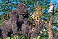 Rain Bird, Parade  Float,  Mountain Gorilla family, Rwanda, high mountain