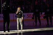 In honor of Black History month, Cymphonique sings the National Anthem during ice-hockey match between Los Angeles Kings and Detroit Red Wings in NHL league, February 28, 2011 at Staples Center, Los Angeles, USA. (Photo By Matic Klansek Velej / Sportida.com)