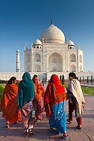 Indian tourists visiting The Taj Mahal mausoleum approach the southern view, Uttar Pradesh, India