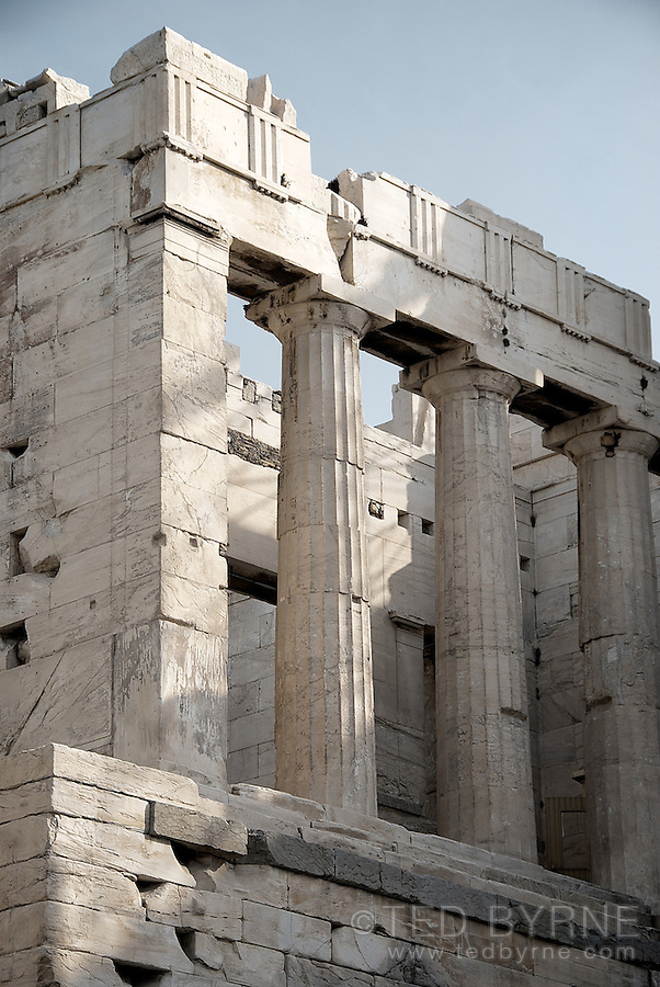 Isolated section the Acropolis  in Athens Greece