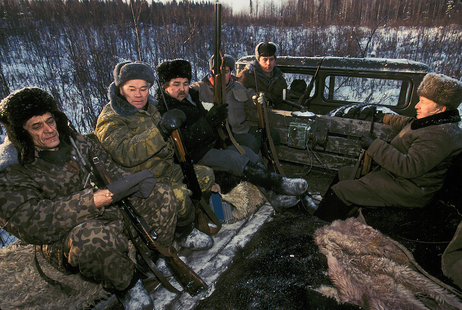 Izhevsk, Siberia, Russia, 10/11/1993.<br /> Weapons inventor Mikhail Kalashnikov and friends on a hunting trip for deer, moose and elk on his birthday.