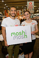 Kenzo Fry (left), founder of moshimosh online language exchange, Hyper Japan 2014, Earls Court, London, UK, July 25, 2014. Hyper Japan is the UK's largest Japanese culture event. It took place at the Earls Court exhibition space from 25 to 27 July 2014.