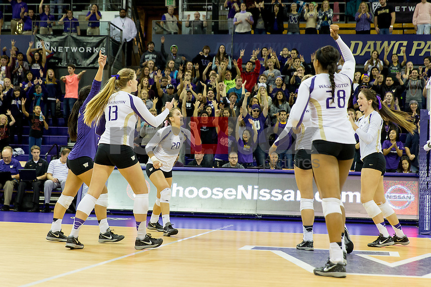 The University of Washington volleyball team defeats Utah 3-0 at Alaska Airlines Arena on October 24, 2014 (Photography by Scott Eklund/Red Box Pictures)