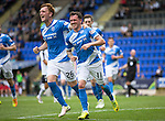 St Johnstone v Falkirk&hellip;23.07.16  McDiarmid Park, Perth. Betfred Cup<br />Danny Swanson celebrates with Liam Craig<br />Picture by Graeme Hart.<br />Copyright Perthshire Picture Agency<br />Tel: 01738 623350  Mobile: 07990 594431