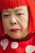 Japanese artist Yayoi Kusama at work in her studio, in Tokyo, Japan, on Wednesday 25th January 2012.