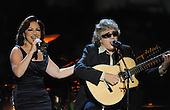 "Washington, DC - October 13, 2009 -- Gloria Estefan (L) and Jose Feliciano perform at a White House Music Series ""Fiesta Latina"" with United States President Barack Obama on the South Lawn of the White House in Washington on October 13, 2009. .Credit: Alexis C. Glenn / Pool via CNP"