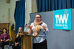 LAUREN CORCORAN-DOOLIN, Democratic Leader, Town of Hempstead, is speaking at Politics 101 event, the first of series of activist training workshops for members of TWW LI, the Long Island affiliate of national Together We Will. One of the 5 speakers referred to groups such as TWWLI as activist pop-up groups. Left of her are two TWW LI administrators (L-R) BETH MEHRTENS McMANUS and SUE MOLLER.