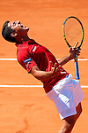 06.04.2012 Oropesa, Spain. 1/4 Final Davis Cup. Nico Almagro celebrates his victory against Jurgen Meltzer during first match of 1/4 final game of Davis Cup played at Oropesa town.
