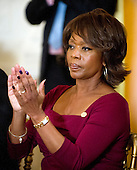 Alfre Woodard applauds one of the recipients during the presentation of the 2011 National Medal of Arts and 2011 National Humanities Medal by United States President Barack Obama in the East Room of the White House in Washington, D.C. on Monday, February 13, 2012..Credit: Ron Sachs / Pool via CNP